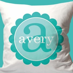 Personalized Scalloped Name And Initial Pillow