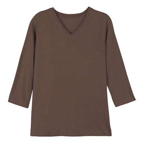 Brown Ladies 3/4 T-Shirt