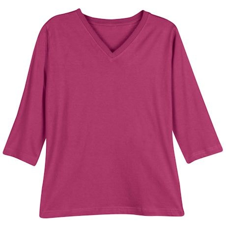 Fuchsia Ladies 3/4 T-Shirt