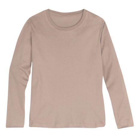 Khaki Ladies Long Sleeve T-Shirt