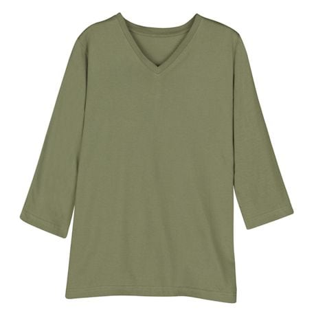 Olive Ladies 3/4 T-Shirt