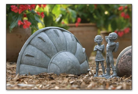 Spaceship and Aliens Garden Sculpture