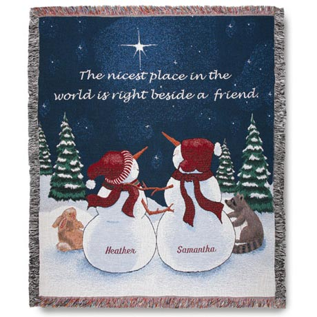 Personalized Snowfriends Throw