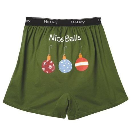 Men's Holiday Boxers - Nice Balls (Green)