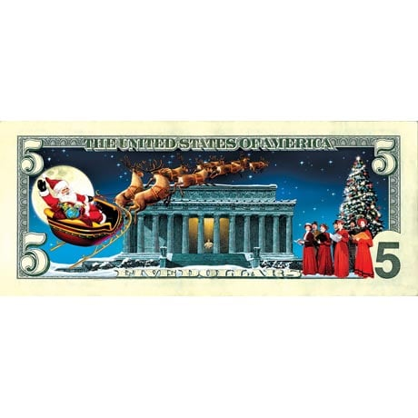 Jingle Bucks Colorized $5 Bill