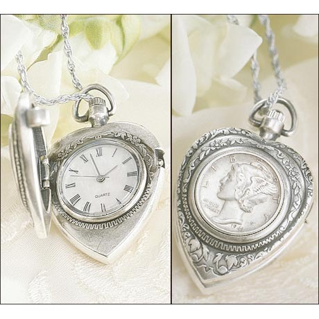 Silver Mercury Dime Heart Pendant & Watch