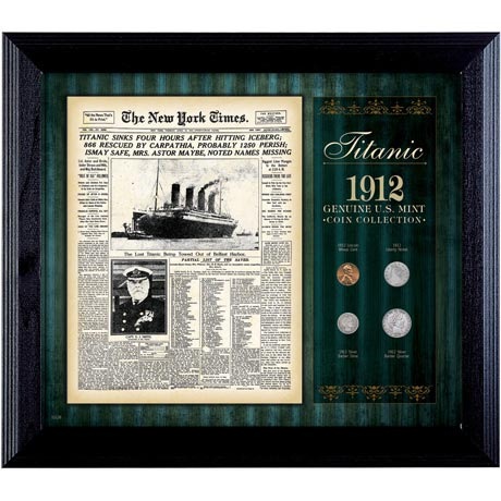 New York Times Titanic 1912 U.S. Mint Coin Collection Framed - 4 Coins