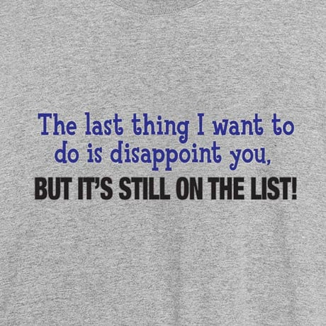 The Last Thing I Want To Do Is Disappoint You Shirt