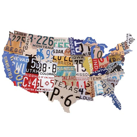 USA License Plate Map Steel Plaque