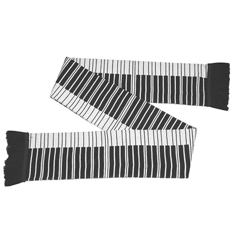 Piano Keyboard Scarf with Fringe
