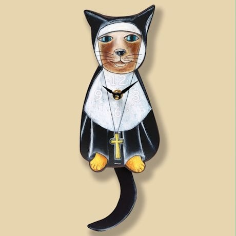 Sister Mary Meow Nun Pendulum Clock