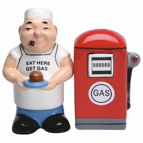 Eat Here Get Gas Salt And Pepper Shakers