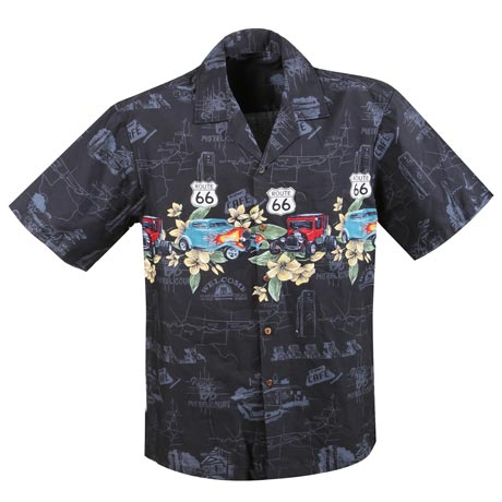Route 66 Hawaiian Camp Shirt in Black and Dark Blue