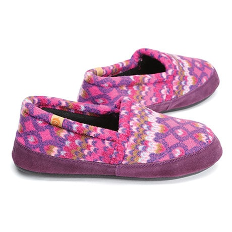 Chevron Berries Fleece Moccasins with Suede Trim for Women