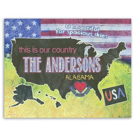 Our Country Personalized Wall Art