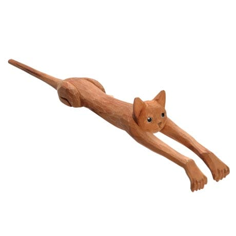 Set of 2 Cat-Shaped Backscratchers Hand-Carved From Basswood