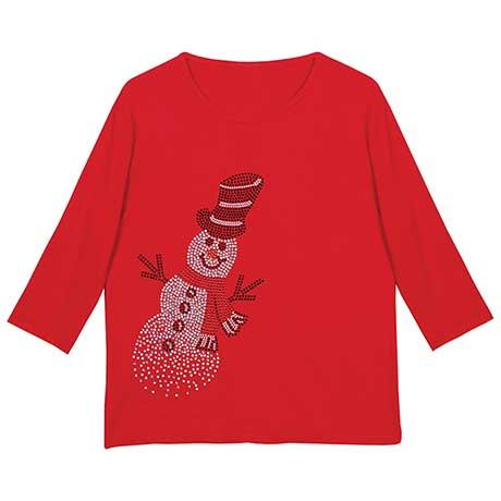 Embellished Snowman T-Shirt