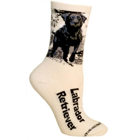 Black Labrador Dog Breed Cotton T-Shirt and Womens Cotton Blend Socks Sets