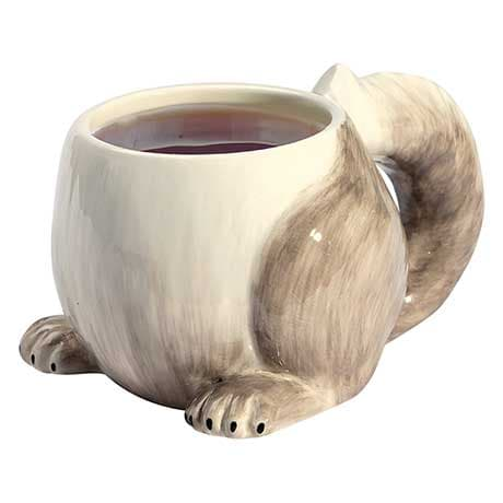 Squirrel Tail Coffee Mug 14 Ounce Porcelain