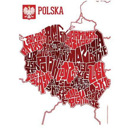 Hand Lettered Typograhic Heritage Framed Prints - Poland