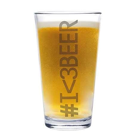 Big Pint Glass - #I<3Beer