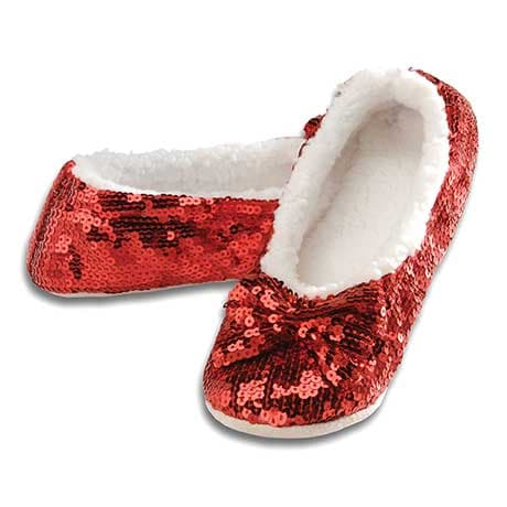 Snoozies® Red Sequin Slippers