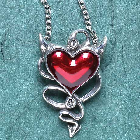 Devil Heart Pendant with Horns and Tail in Wicked Love Design