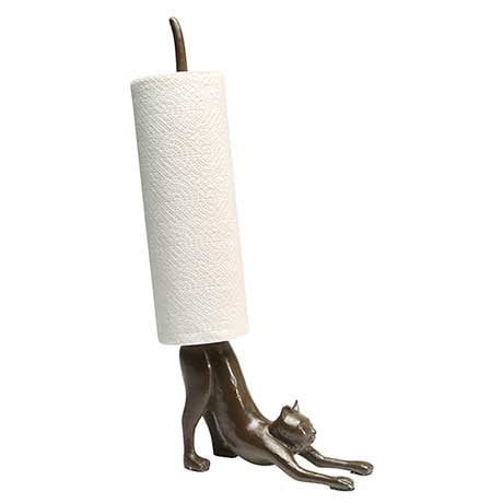 Cat Paper Towel Holder in Cast Iron