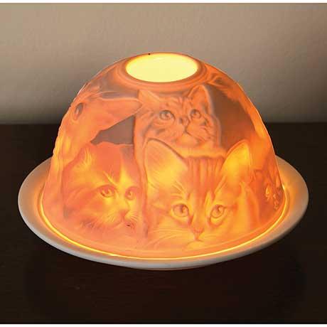 Porcelain Bisque Cats Nightlight