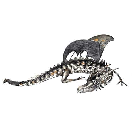 Metal Dragon Sculpture with Removable Wings & Scales