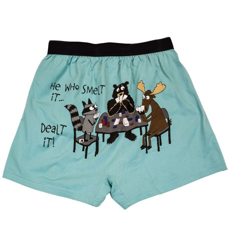 Who Smelt It Dealt It Funny Boxers with Moose and Cards in Cotton with Elastic Waist