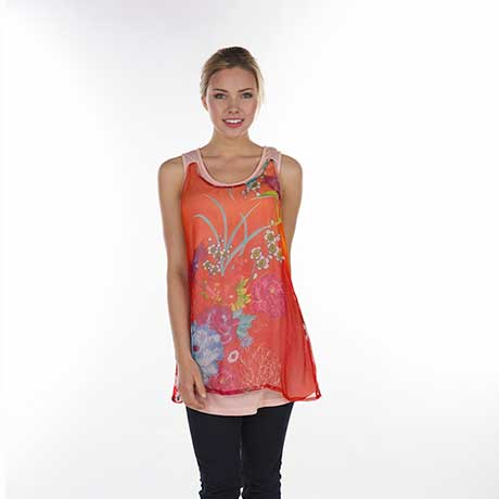 Flower Patch Sleveless Tunic- Coral