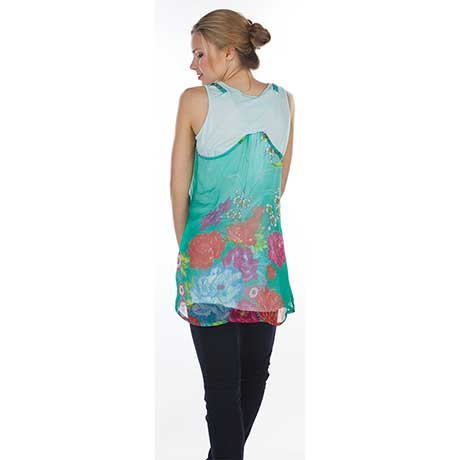 Flower Patch Sleveless Tunic- Sea Green