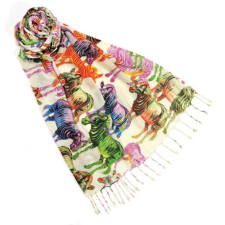 Multi Colored Animal Print Scarves Zebra