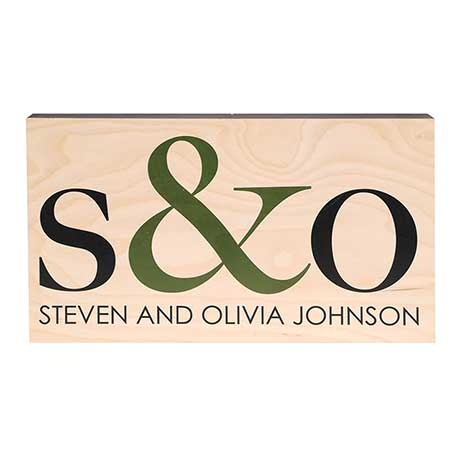 Monogramed Pine Wood Wall Plaque