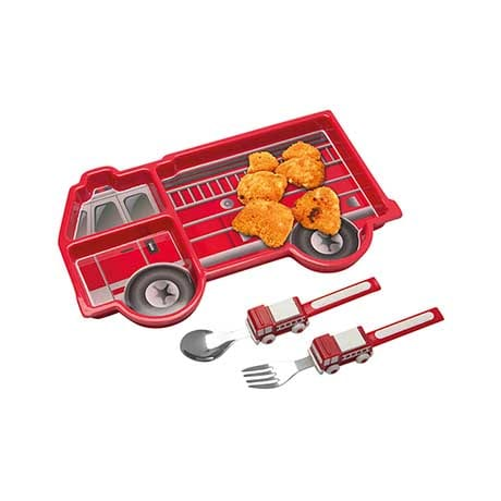 Mealtime Fire Truck Plate Safe for Dishwasher & Microwave