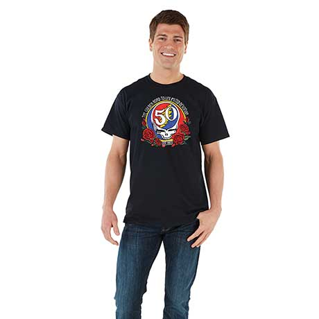 Grateful Dead 50th Anniversary Embroidered T-Shirt Golden Road to Unlimited Devotion