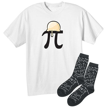 Math Gift Set Pi Symbol A'La Mode Cotton T-Shirt With Mens' Math  Socks