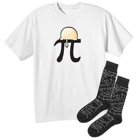 Math Gift Set Pi Symbol A'La Mode Cotton T-Shirt With Womens' Math  Socks