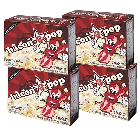 12-Pack Bacon Pop Bacon Flavored Microwaveable Popcorn 4 Boxes of 3 Bags