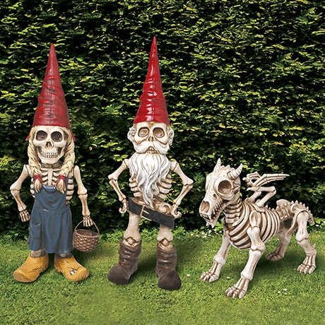 Exclusive Man Woman and Dragon Skel -A- Gnome Garden Statue Sculpture Gift Set