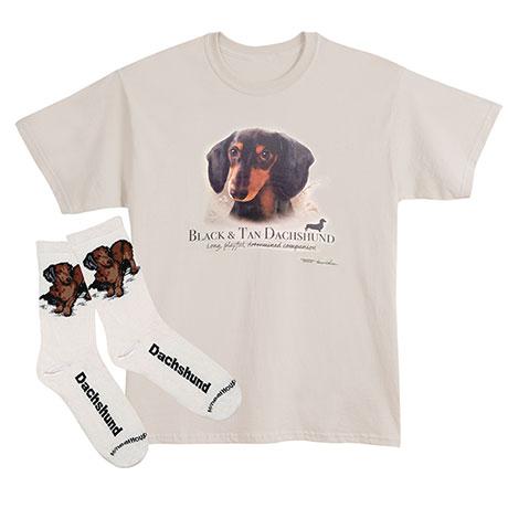 Black Dachshund Dog Breed Cotton T-Shirt and Mens Cotton Blend Socks Sets
