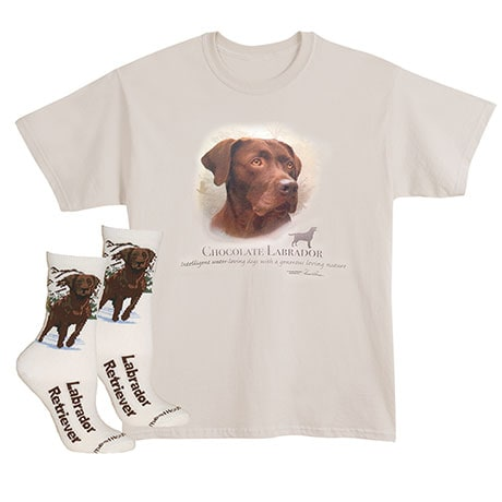Chocolate Labrador Dog Breed Cotton T-Shirt and Womens Cotton Blend Socks Sets