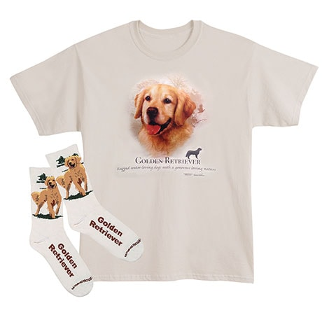 Golden Retriever Dog Breed Cotton T-Shirt and Mens Cotton Blend Socks Sets