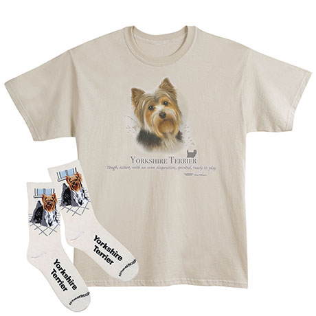 Yorkie Dog Breed Cotton T-Shirt and Womens Cotton Blend Socks Sets