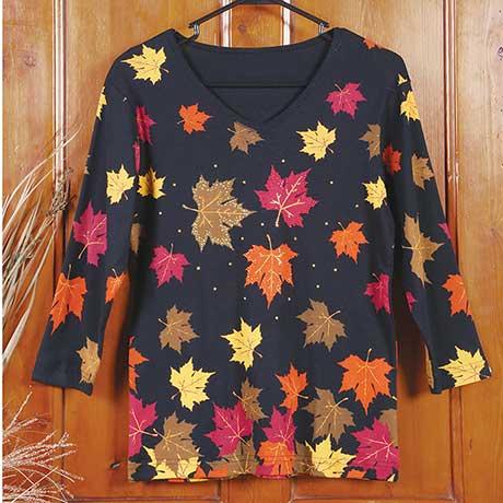 Falling Autumn Leaves Ladies T-Shirt
