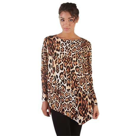 Asymmetrical Cheetah Print Tunic
