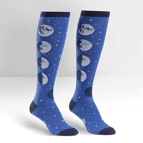 Space Knee High Socks- Moon Phases