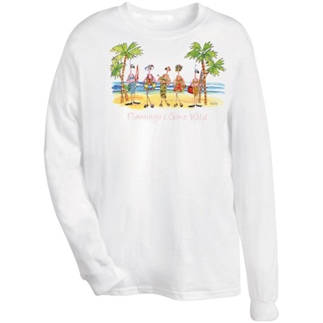Flamingos Gone Wild Long Sleeve T-Shirt