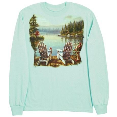 Lake Morning Coffee Long Sleeve T-Shirt